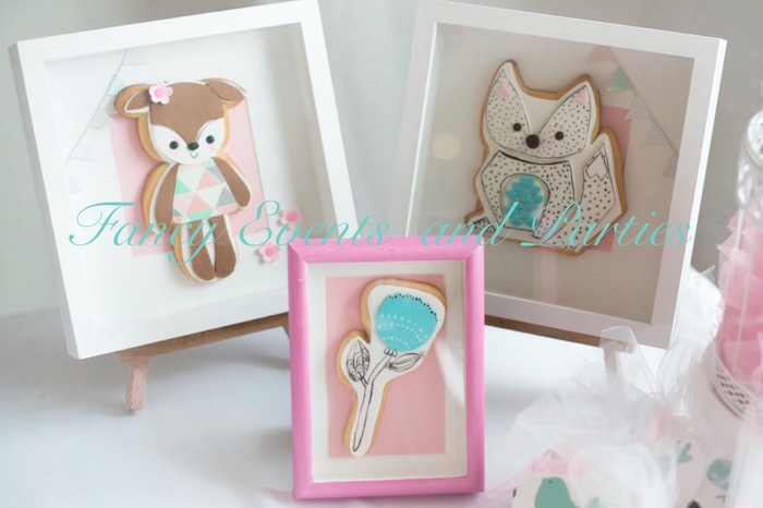 Cookies in frames from a Pastel Woodland Baby Shower via Kara's Party Ideas KarasPartyIdeas.com (17)