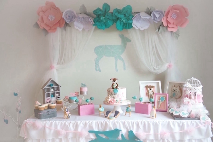 sweet table from a pastel woodland baby shower via kara 39 s party ideas
