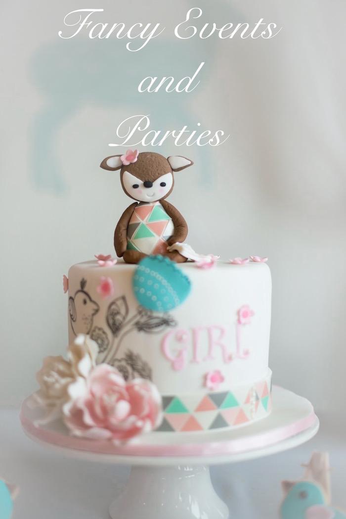 Cake from a Pastel Woodland Baby Shower via Kara's Party Ideas KarasPartyIdeas.com (9)