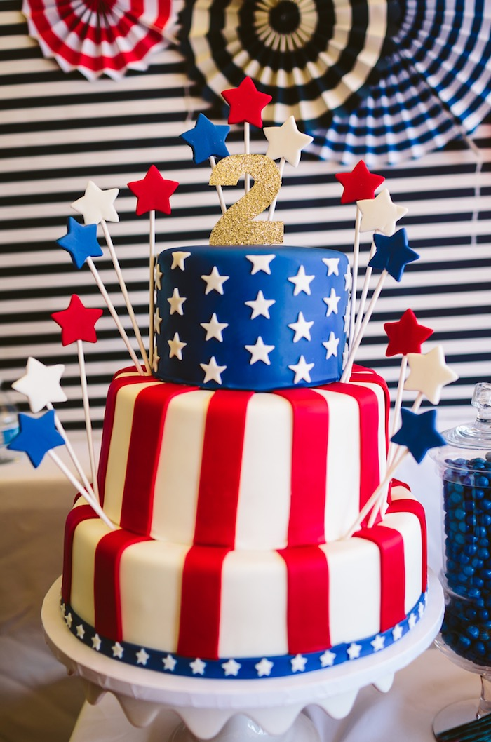 Kara 39 s party ideas patriotic red white blue birthday for American flag cake decoration