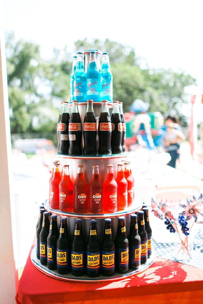 Drink tower from a Patriotic Red + White & Blue Birthday BBQ via Kara's Party Ideas   KarasPartyIdeas.com (16)