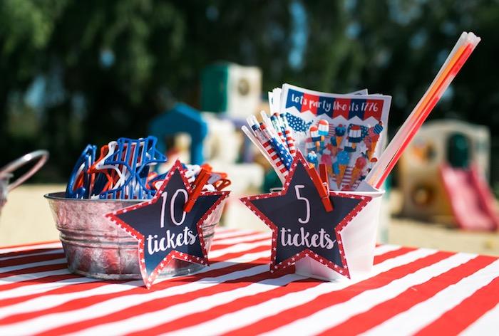 Prize table from a Patriotic Red + White & Blue Birthday BBQ via Kara's Party Ideas   KarasPartyIdeas.com (15)