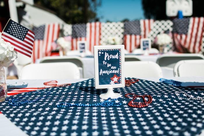 Dining table decor from a Patriotic Red + White & Blue Birthday BBQ via Kara's Party Ideas   KarasPartyIdeas.com (10)