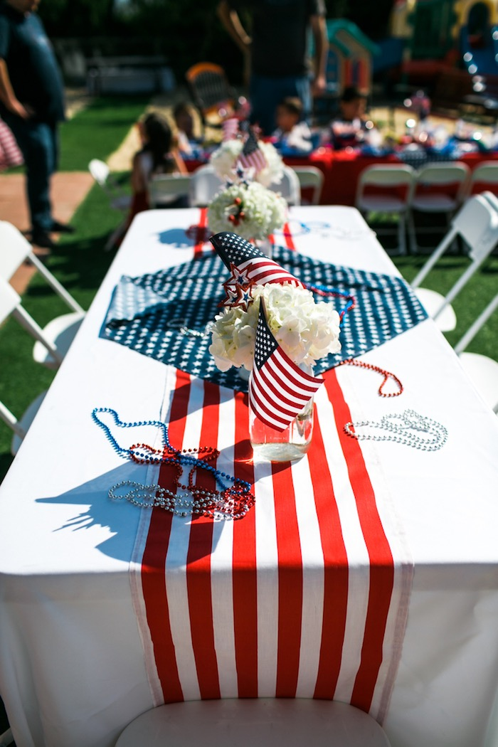 Patriotic party table from a Patriotic Red + White u0026 Blue Birthday BBQ via Karau0027s Party : patriotic party decorating ideas - www.pureclipart.com