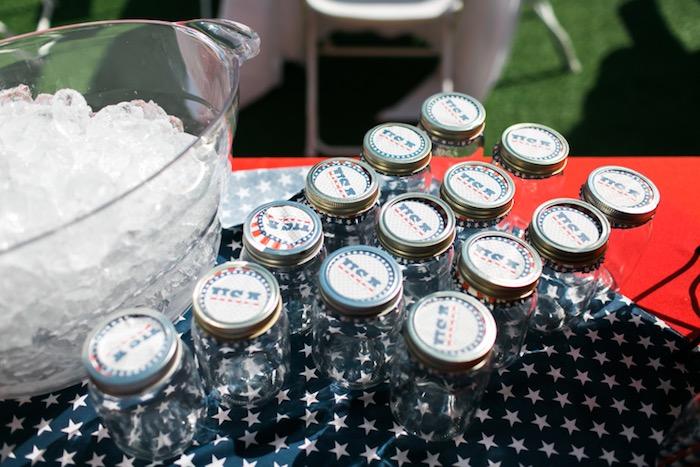 Mason jar drink bottles from a Patriotic Red + White & Blue Birthday BBQ via Kara's Party Ideas   KarasPartyIdeas.com (6)