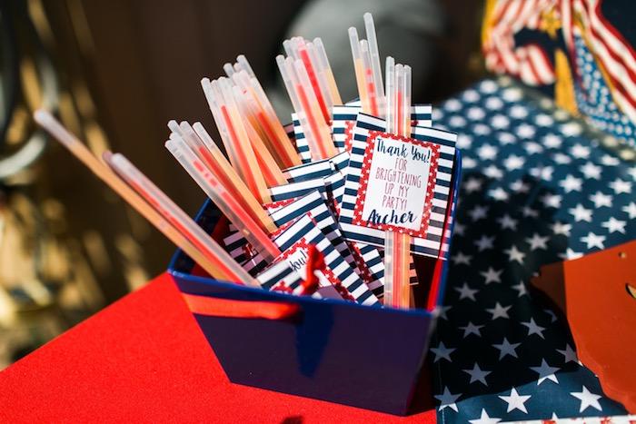 Glow stick favors from a Patriotic Red + White & Blue Birthday BBQ via Kara's Party Ideas   KarasPartyIdeas.com (3)