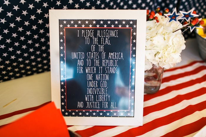 Pledge of Allegiance party signage from a Patriotic Red + White & Blue Birthday BBQ via Kara's Party Ideas   KarasPartyIdeas.com (2)