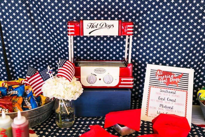 Food table from a Patriotic Red + White & Blue Birthday BBQ via Kara's Party Ideas   KarasPartyIdeas.com (27)