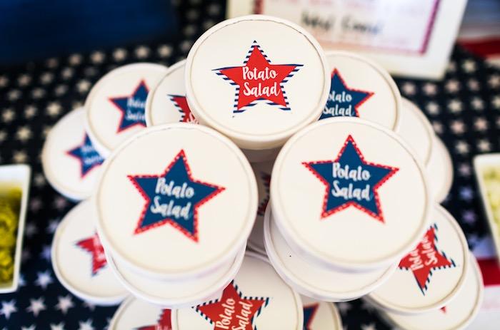Potato Salad Cups from a Patriotic Red + White & Blue Birthday BBQ via Kara's Party Ideas   KarasPartyIdeas.com (24)