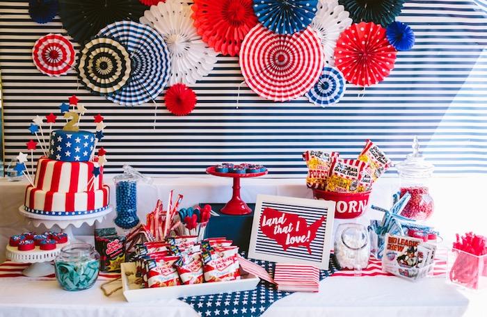 Karas Party Ideas Patriotic Red White Blue Birthday BBQ