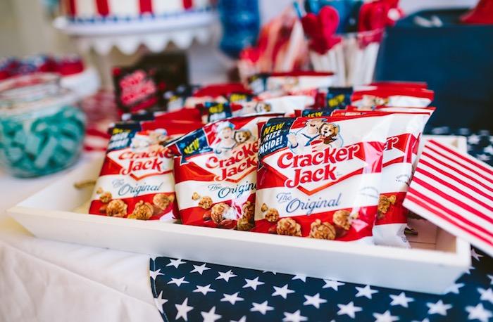 Cracker Jack Popcorn from a Patriotic Red + White & Blue Birthday BBQ via Kara's Party Ideas   KarasPartyIdeas.com (22)