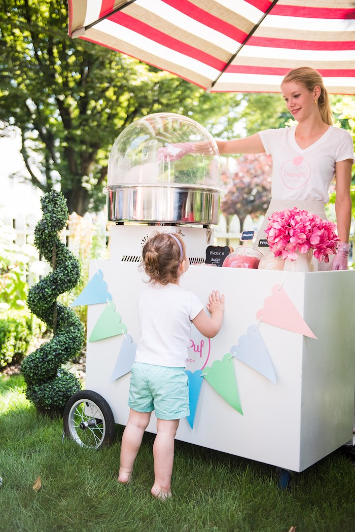 Cotton candy cart from a Peach + Coral Vintage Birthday Party via Kara's Party Ideas | KarasPartyIdeas.com - The Place for All Things Party! (21)