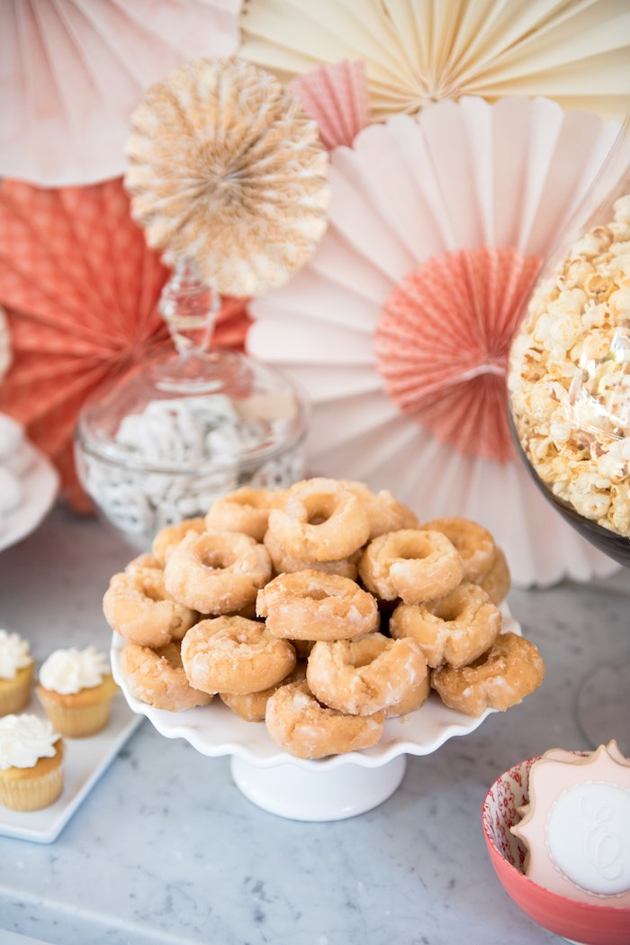 Old fashioned donuts from a Peach + Coral Vintage Birthday Party via Kara's Party Ideas | KarasPartyIdeas.com - The Place for All Things Party! (20)