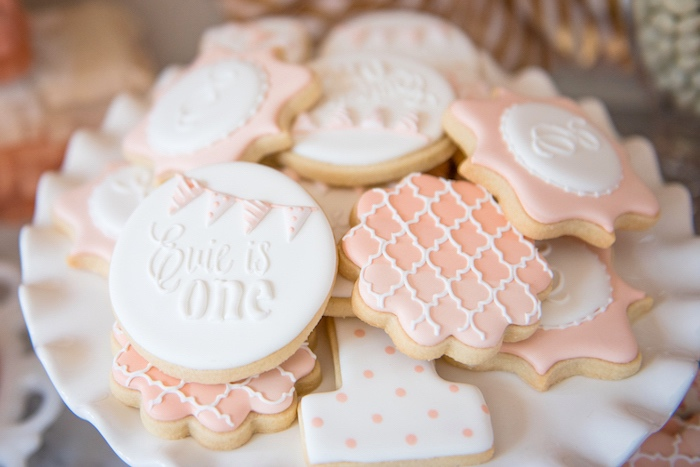 Adorable cookies from a Peach + Coral Vintage Birthday Party via Kara's Party Ideas | KarasPartyIdeas.com - The Place for All Things Party! (19)