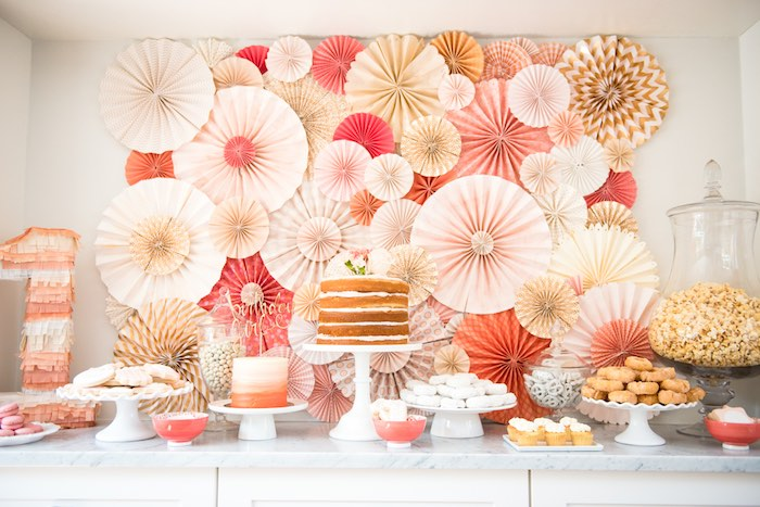 Gorgeous dessert tablescape from a Peach + Coral Vintage Birthday Party via Kara's Party Ideas | KarasPartyIdeas.com - The Place for All Things Party! (18)