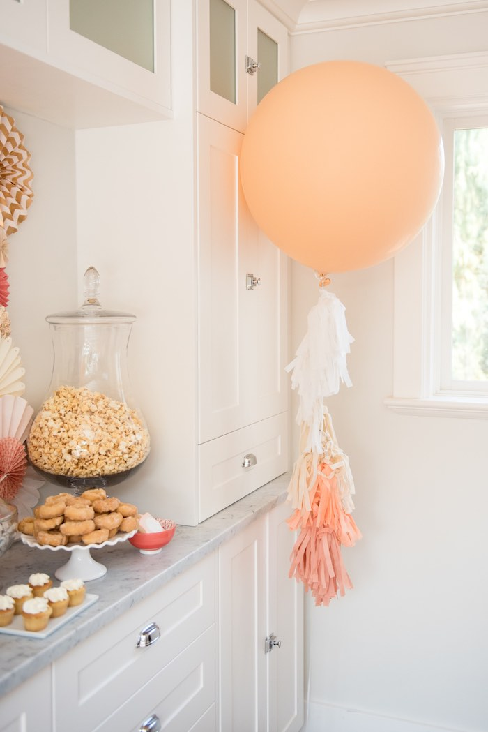 Peach balloon with tassel streamer from a Peach + Coral Vintage Birthday Party via Kara's Party Ideas | KarasPartyIdeas.com - The Place for All Things Party! (16)