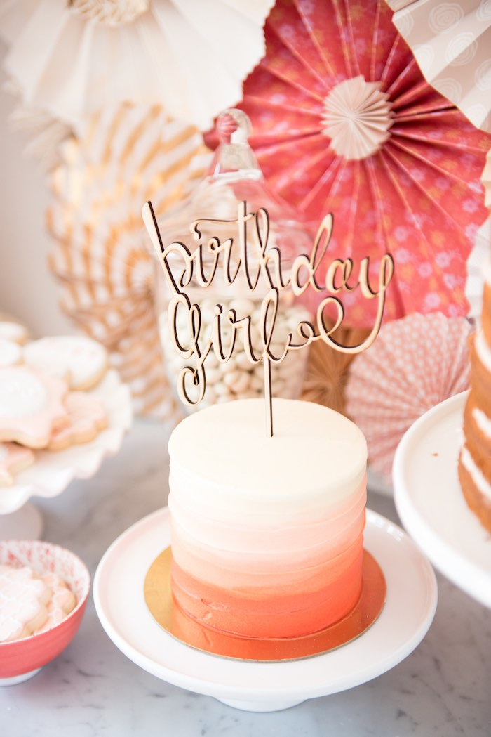 Coral & peach ombre smash cake from a Peach + Coral Vintage Birthday Party via Kara's Party Ideas | KarasPartyIdeas.com - The Place for All Things Party! (13)