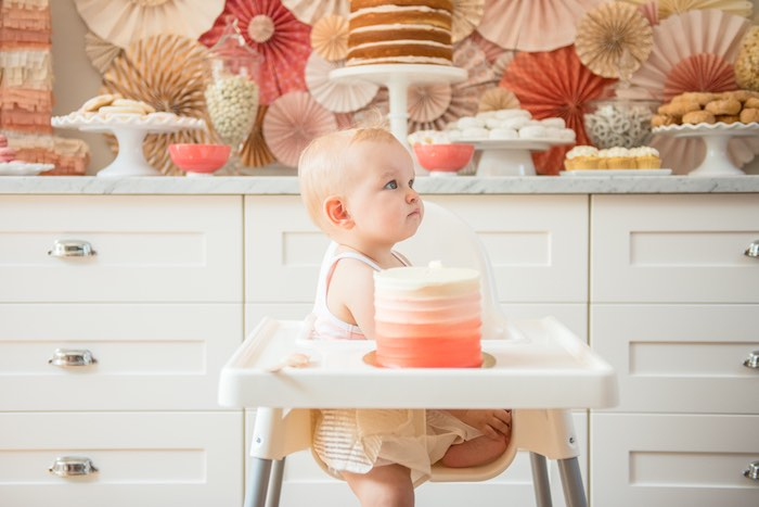 A birthday girl & her smash cake from a Peach + Coral Vintage Birthday Party via Kara's Party Ideas | KarasPartyIdeas.com - The Place for All Things Party! (11)