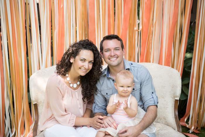 Birthday girl + parents Photo op from a Peach + Coral Vintage Birthday Party via Kara's Party Ideas | KarasPartyIdeas.com - The Place for All Things Party! (8)