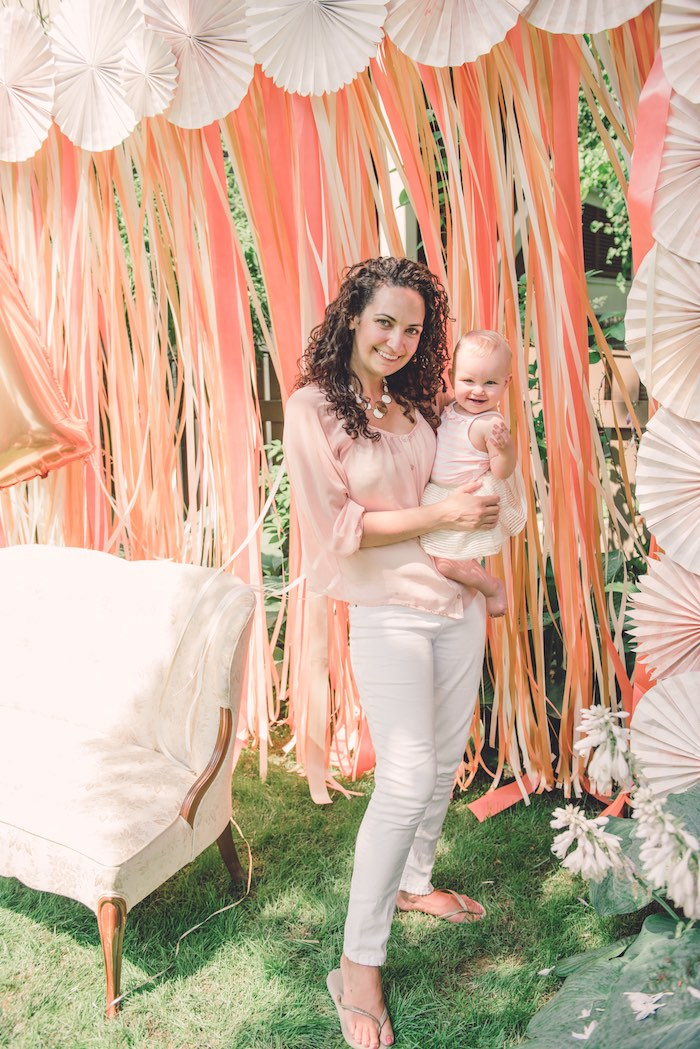 Momma & Baby from a Peach + Coral Vintage Birthday Party via Kara's Party Ideas | KarasPartyIdeas.com - The Place for All Things Party! (6)