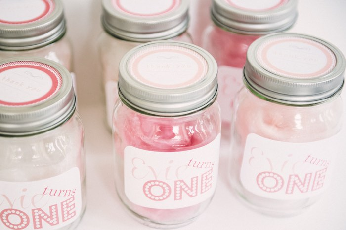Favor jars from a Peach + Coral Vintage Birthday Party via Kara's Party Ideas | KarasPartyIdeas.com - The Place for All Things Party! (5)