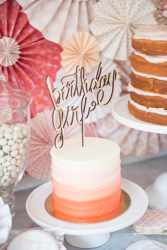 Perfectly peach ombre cake from a Peach + Coral Vintage Birthday Party via Kara's Party Ideas | KarasPartyIdeas.com - The Place for All Things Party! (29)