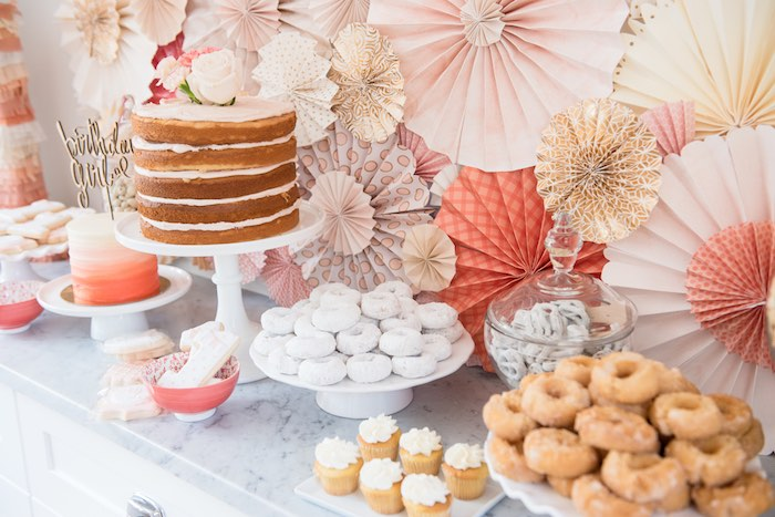 Beautiful dessert table from a Peach + Coral Vintage Birthday Party via Kara's Party Ideas | KarasPartyIdeas.com - The Place for All Things Party! (27)
