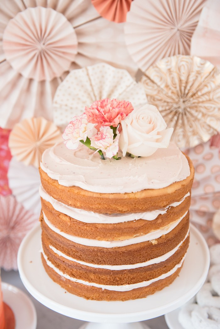 Gorgeous flower topped naked cake from a Peach + Coral Vintage Birthday Party via Kara's Party Ideas | KarasPartyIdeas.com - The Place for All Things Party! (26)