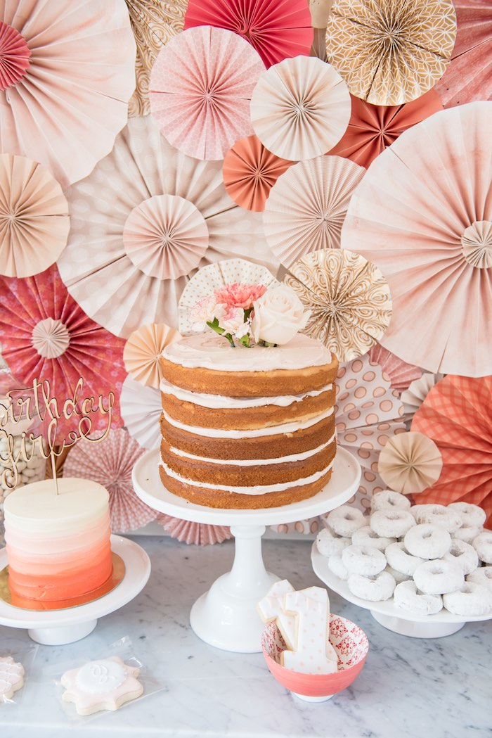 Cake display from a Peach + Coral Vintage Birthday Party via Kara's Party Ideas | KarasPartyIdeas.com - The Place for All Things Party! (25)