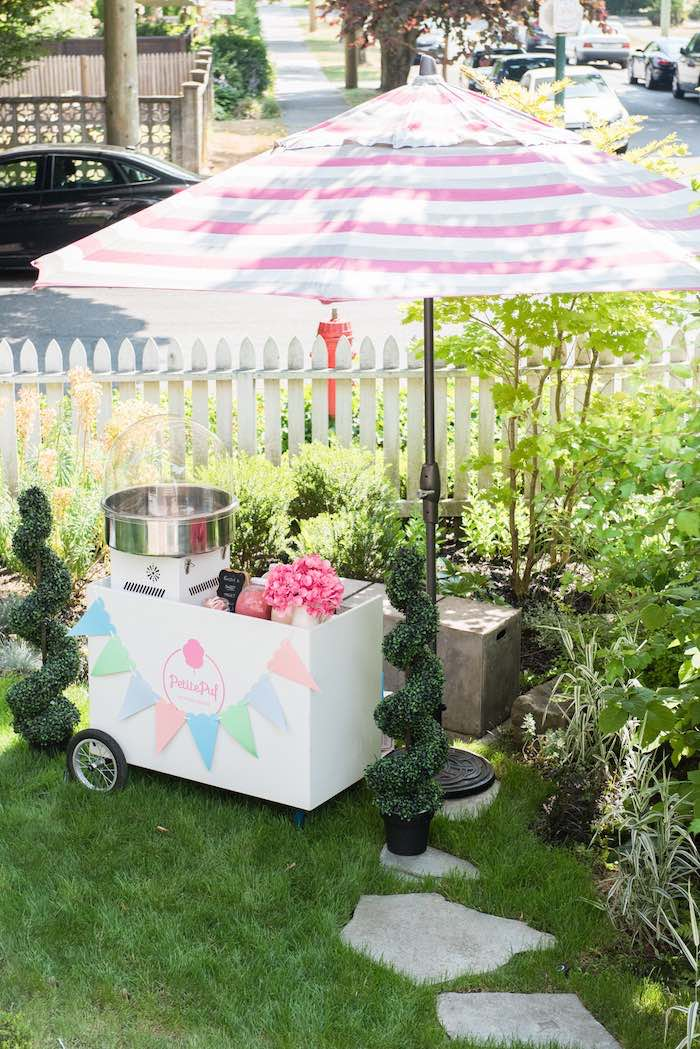 Cotton candy cart from a Peach + Coral Vintage Birthday Party via Kara's Party Ideas | KarasPartyIdeas.com - The Place for All Things Party! (24)