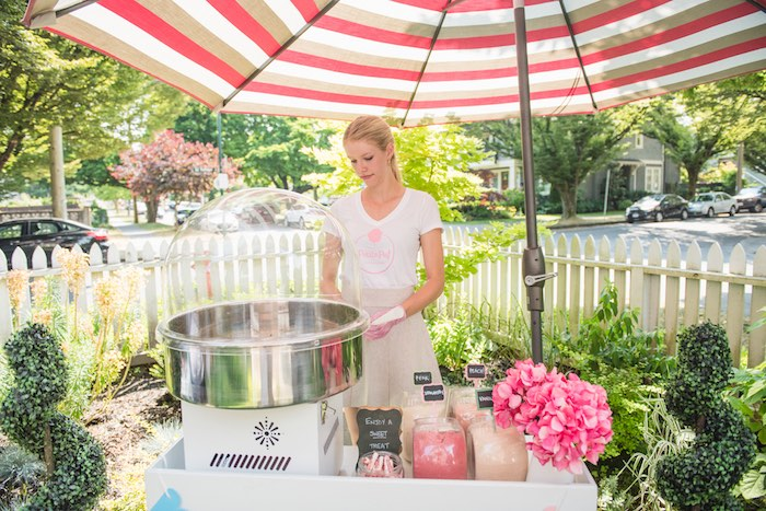 Cotton candy cart + spinning artist from a Peach + Coral Vintage Birthday Party via Kara's Party Ideas | KarasPartyIdeas.com - The Place for All Things Party! (23)