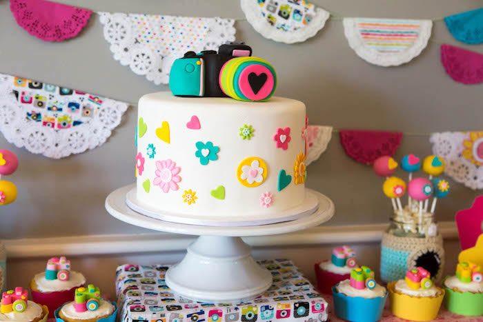 Camera cake from a Photography + Instagram Camera Themed Birthday Party via Kara's Party Ideas - KarasPartyIdeas.com (36)