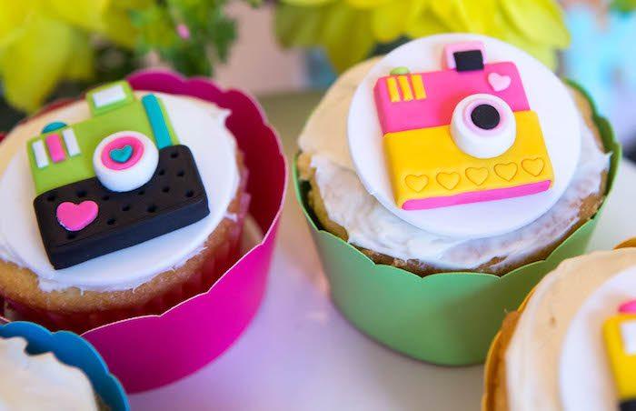 Cupcakes from a Photography + Instagram Camera Themed Birthday Party via Kara's Party Ideas - KarasPartyIdeas.com (31)