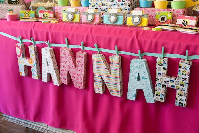 Letter table banner from a Photography + Instagram Camera Themed Birthday Party via Kara's Party Ideas - KarasPartyIdeas.com (27)
