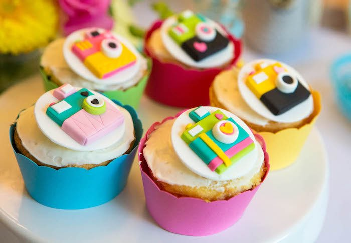 Camera cupcakes from a Photography + Instagram Camera Themed Birthday Party via Kara's Party Ideas - KarasPartyIdeas.com (23)