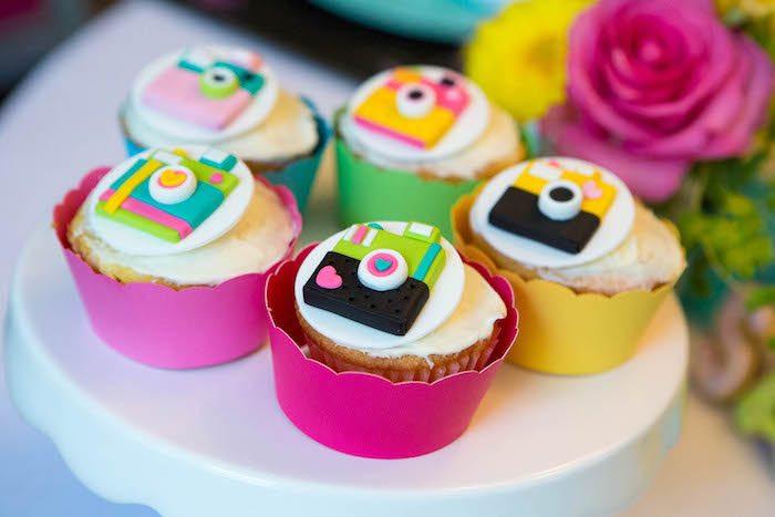 Camera cupcakes from a Photography + Instagram Camera Themed Birthday Party via Kara's Party Ideas - KarasPartyIdeas.com (22)