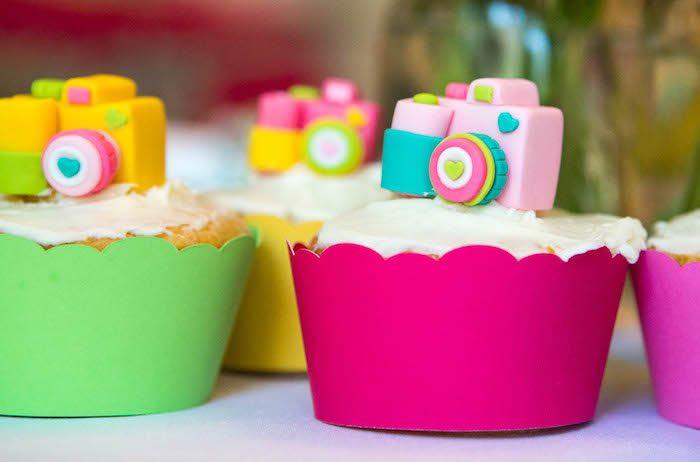Camera cupcake topper from a Photography + Instagram Camera Themed Birthday Party via Kara's Party Ideas - KarasPartyIdeas.com (21)