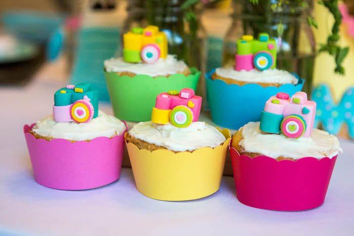 Camera cupcakes from a Photography + Instagram Camera Themed Birthday Party via Kara's Party Ideas - KarasPartyIdeas.com (20)