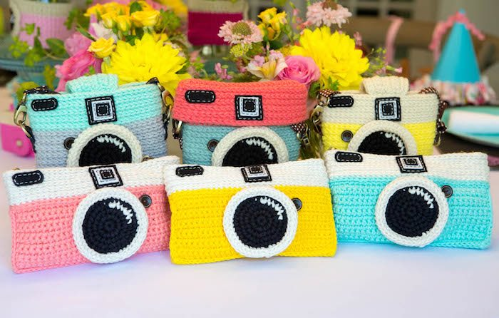 Crocheted camera purses from a Photography + Instagram Camera Themed Birthday Party via Kara's Party Ideas - KarasPartyIdeas.com (19)
