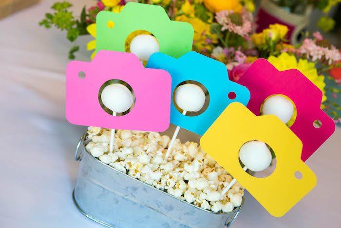Camera cake pops from a Photography + Instagram Camera Themed Birthday Party via Kara's Party Ideas - KarasPartyIdeas.com (15)