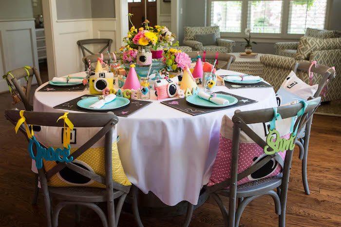 Party table from a Photography + Instagram Camera Themed Birthday Party via Kara's Party Ideas - KarasPartyIdeas.com (12)