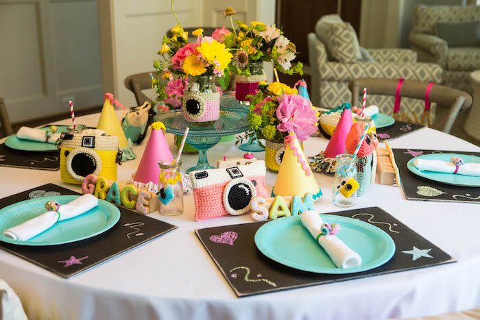 Party Table Setting From A Photography + Instagram Camera Themed Birthday  Party Via Karau0027s Party Ideas