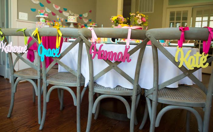 Chair backs with hanging wooden nameplates from a Photography + Instagram Camera Themed Birthday Party via Kara's Party Ideas - KarasPartyIdeas.com (6)