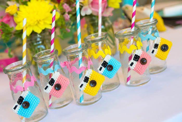 Glass milk bottles from a Photography + Instagram Camera Themed Birthday Party via Kara's Party Ideas - KarasPartyIdeas.com (3)