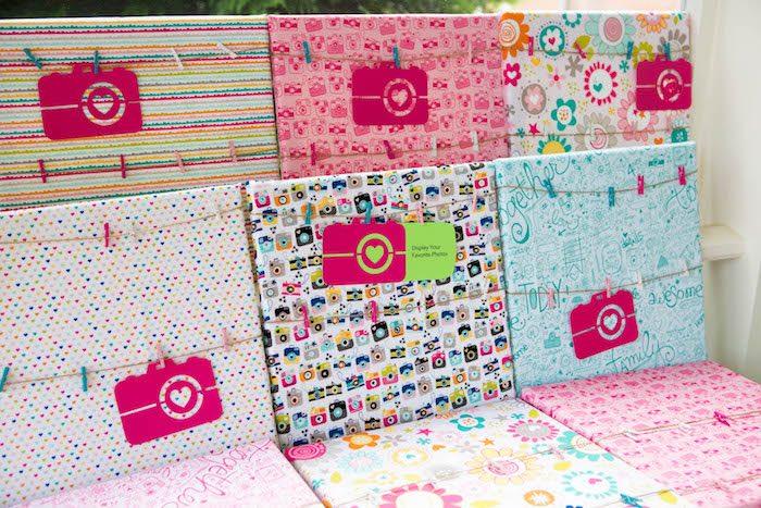 Fabric covered bulletin boards from a Photography + Instagram Camera Themed Birthday Party via Kara's Party Ideas - KarasPartyIdeas.com (41)