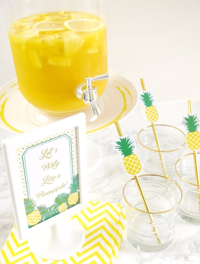 Beverage bar from a Pineapple Birthday Party via Kara's Party Ideas KarasPartyIdeas.com (21)