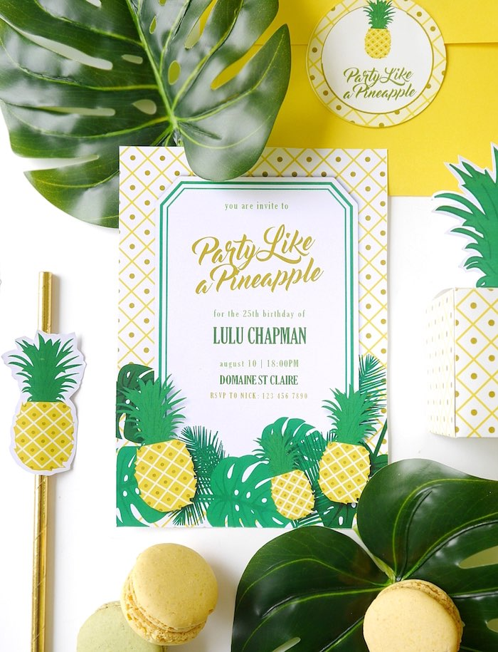 Pineapple party invitation from a Pineapple Birthday Party via Kara's Party Ideas KarasPartyIdeas.com (19)
