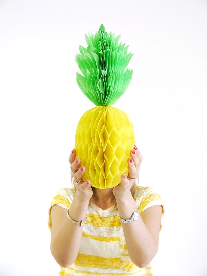 Honeycomb pineapple photo op from a Pineapple Birthday Party via Kara's Party Ideas KarasPartyIdeas.com (12)