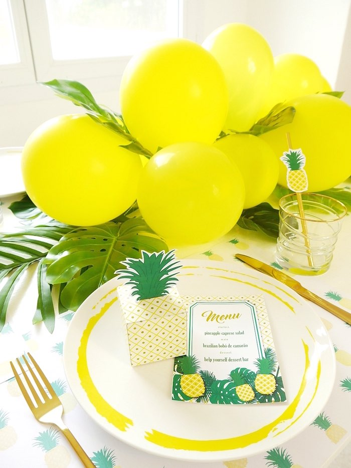 Pineapple party details from a Place setting from a Pineapple Birthday Party via Kara's Party Ideas KarasPartyIdeas.com (30)