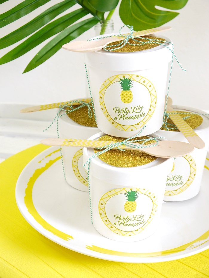 Pineapple cups from a Pineapple Birthday Party via Kara's Party Ideas KarasPartyIdeas.com (10)